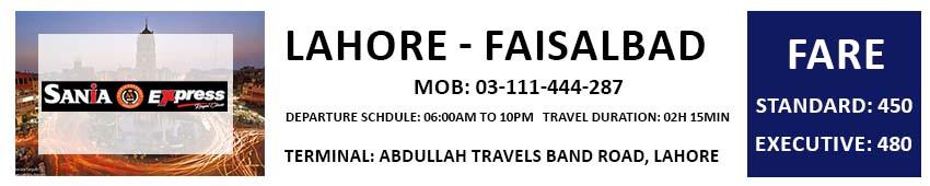 Faisalabad Times & Fares